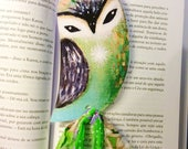 Owl bookmark - bookmarker, illustration, whimscal, papergoods, book art, book mark, owl painting, owl gift, green owl