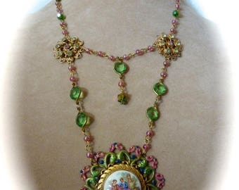 Clearance Sale Neo-Victorian Style Vintage Two Strand Necklace with Cameo Pendant