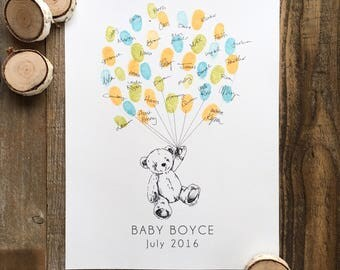 baby shower guestbook alternative teddy bear thumbprint balloon alternative guest book wedding guestbook