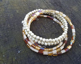 Set of Three Chocolate/Gold/Clear Memory Wire Bracelets