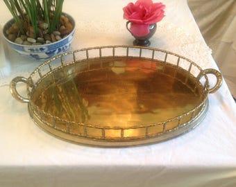 """FAUX BAMBOO BRASS Tray 20"""" Long /Hollywood Regency Faux Bamboo Brass Tray / Large Vintage Brass Tray at Retro Daisy Girl"""