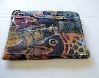 Fish Batik Zipper Pouch with Plastic Lining and Pocket for Texting