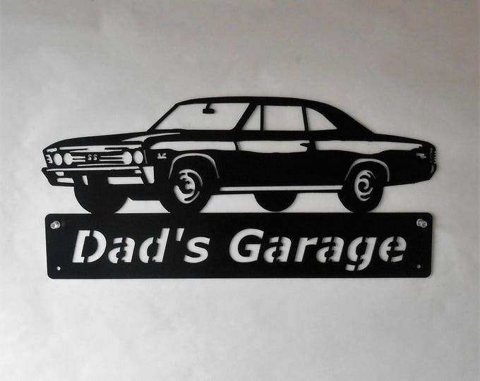 1967 Chevelle - Personalized Metal Sign- Man Cave- Classic - Muscle Car -Garage Sign - Satin Black