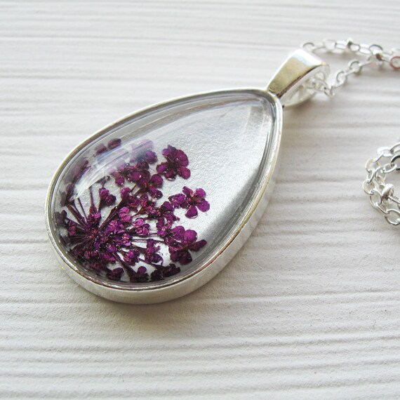 Real Pressed Flower Necklace - Silver and Violet Queen Anne's Lace Botanical Teardrop Necklace