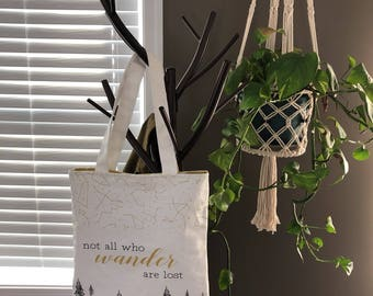 Market Tote- Not All Who Wander Are Lost- Tote Bag- Canvas Tote
