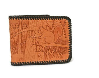 Vintage Tooled Leather Wallet  /  New Old Stock  /  Monogrammed  /  Western Hunting Theme