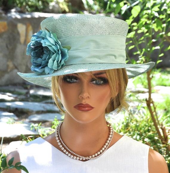 Women's Boater, Wedding Hat, Mad Hatter, Formal Hat, Turquoise Hat, Ladies Aqua Hat Dressy Hat Special Occasion Hat Garden Party Hat Tea Hat