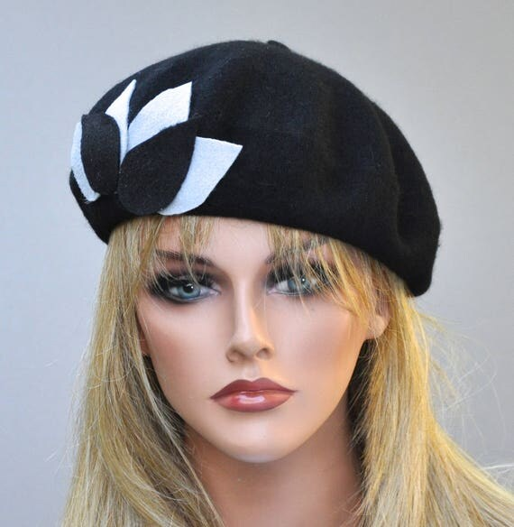 Black Beret, French Beret, Black Winter Hat, Warm Hat, Black and Gray Beret, Casual hat, Beret, Purple beret, purple winter hat