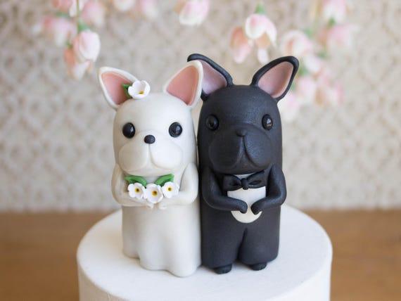 French Bulldog Wedding Cake Topper Frenchie Wedding by