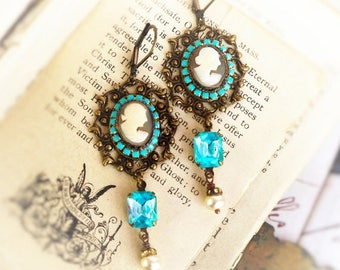 MOVING SALE She Wore Blue, Genuine Carved Italian Shell Cameo,Vintage Aqua Rhinestone and Pearls Assemblage Earrings by Hollywood Hillbilly