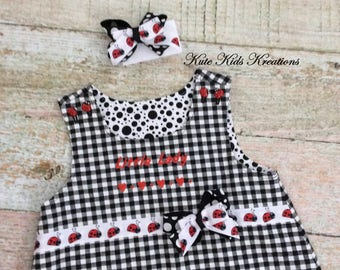 Toddler Dress/LADYBUG REVERSIBLE Dress with Matching Hair Bow/Size 3T/Ready to Ship