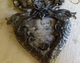 AMAZING Vintage French Enfant Jesus Heart Pendant
