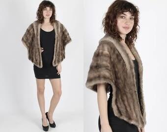 Mink Fur Stole Mink Stole Mink Cape Brown Mink Bolero Real Fur Vintage 60s Silver Fur Stole Cape Plush Grey Wedding Bridal Wrap Shrug