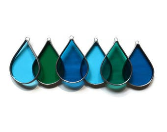 Stained Glass Raindrops - Set of 6 in Turquoise, Teal Aqua