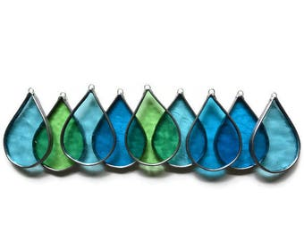 Stained Glass Raindrops - Set of 9 in blue, turquoise, green