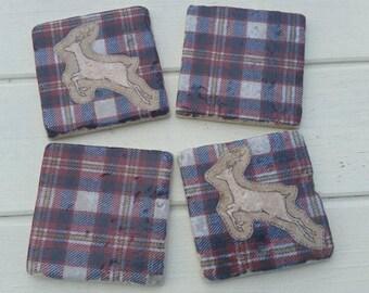 Tartan Deer Coaster Set of 4 Tea Coffee Beer Coasters