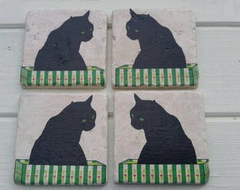 Cat in a Box Stone Coaster Set of 4 Tea Coffee Beer Coasters