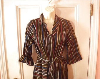 1950s Rainbow Stripe Black Satin Robe - Small to Medium