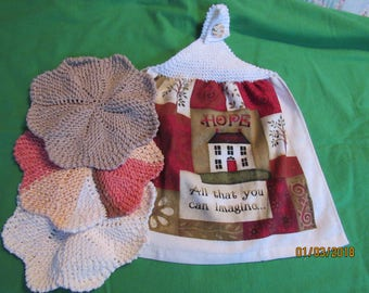 Hand Knitted Top Home is Hope  Kitchen Towel Dishcloth gift set Jute Natural Stripes and Soft Ecru  New