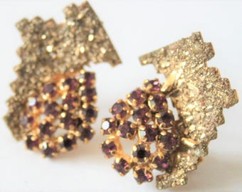 Vintage clip on earrings. Purple crystal and pyrite earrings.  Fools gold earrings.  Vintage jewellery