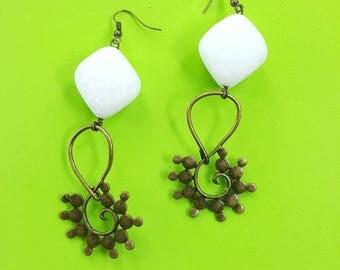 Bohemian drop earrings//boho chic hoop earrings//gypsy brass earrings
