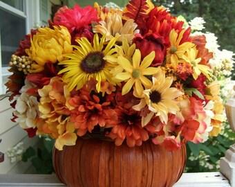 Fall Floral Arrangement - Thanksgiving Centerpiece - Pumpkin Floral Arrangement - Fall Centerpiece - Table Centerpiece