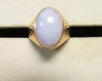 For Sale Vintage Estate  14K Lavender Jade Cabochon Ring