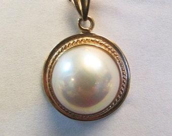 On Sale Vintage Estate 14K Large High Luster Pink Toned Mabe Pearl  Pendant