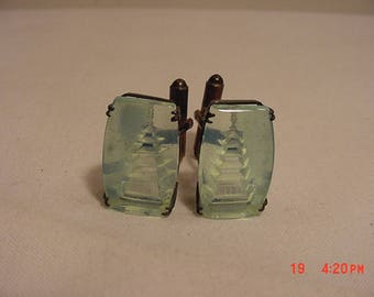 Vintage Blue Reverse Carved Japanese Pagoda Building Cuff Links  17 - 1334