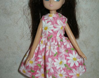 """Handmade 7"""" doll clothes for Lottie -Pink and White Daisy Dress"""