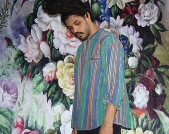 Hip Hop Rap Rapper Fresh Prince VTG 90s Graphic Striped Tribal Oversize Men's Dress Shirt - 1990s Button Ups - 90s Clothing - MV0574