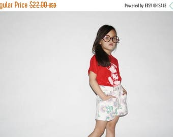 FLASH SALE - Kid's Vintage Floral Shorts -  90s floral denim shorts  -  The Pink Sunflower Shorts  - K0009