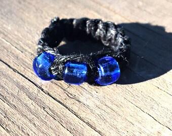 Macrame Hemp Ring with Blue Glass Beads