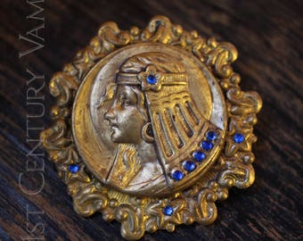 Vintage Egyptian Revival Brooch. Art Nouveau Style. Cleopatra. Egyptomania. Flapper.
