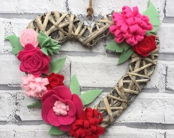 Wicker Heart Door Wall Wreath Art, felt flowers
