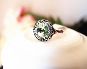 Swarovski Peridot Crown Lace Ring-adjustable-steampunk-Victorian-edgy chic- statement-armor ring V071