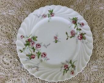 Haviland Limoges France Salad Plate With Rose Spray Design and Swirled Rim