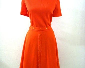 Vintage 70s Orange Day Dress - 1970s Orange Short Sleeve Dress with Matching Belt - Orange Knit Dress by Kay Windsor - Size Large