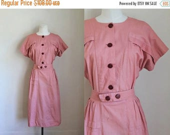 AWAY SALE 20% off vintage 1930s dress - POPPY Pink day dress / M