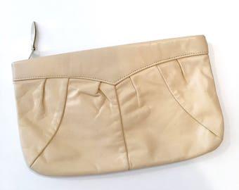 vintage leather clutch • CHAI cream leather handbag