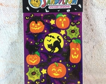 20% SALE Vintage 1990s Sandylion Halloween Stickers Sealed Pack Two Sheets Retro 90s Kids