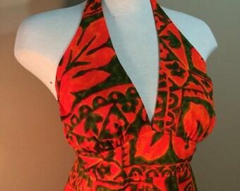 SUMMER SALE 1960s Ladies Size 5 Barkcloth Hawaiian Dress Neon Floral Maxi Full Length Leola of Hawaii Halter