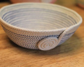 Ready Made Blue Rope Coiled Basket