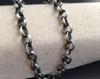 THE FINEST SILVER- on the market - Oxidized - 960 Argentium® Silver 5.9 x 7.4 mm Belcher Rolo Chain, choose Length and clasp