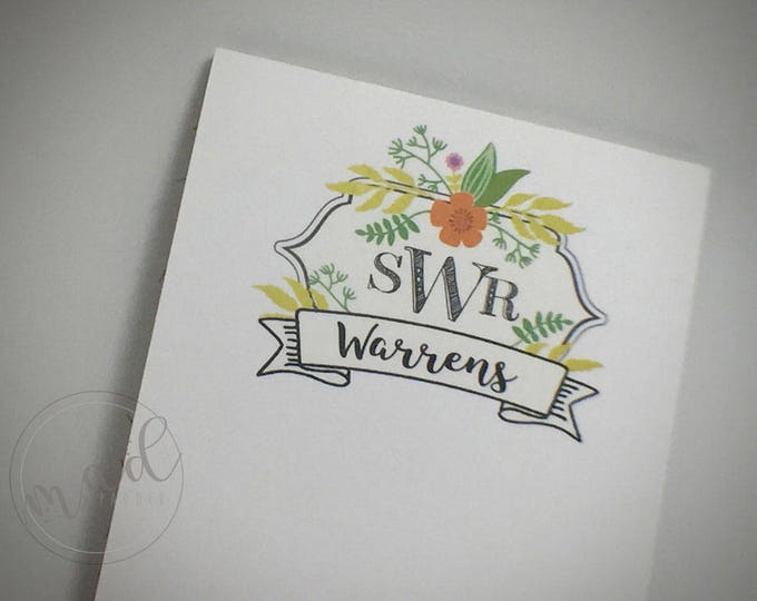 Monogram Floral Crest Notepads - Four Custom Made - Fourth of a Sheet Size
