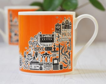 Brighton Mug - Orange Brighton Mug - colourful mug - colourful Brighton mug - Brighton gift - Brighton and Hove gift