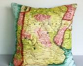 SALE SALE SALE Vintage map print pillow cover Argentina/ Organic cotton / 16 inch pillow