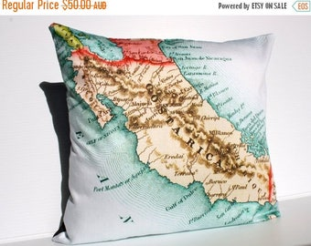 SALE SALE SALE Cushion covers map pillows Costa Rica vintage map pillow, organic cotton, Cushion cover,  map pillow, 16 inch, 41cm