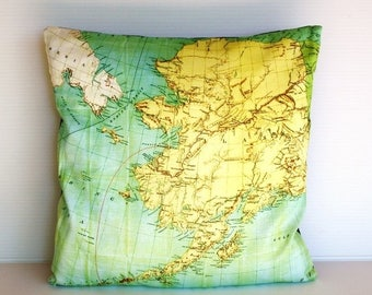 SALE SALE SALE Cushion cover. Map pillow Alaska Organic cotton map cushion, pillow, throw pillow cushion cover 16x16