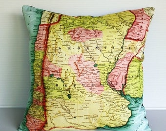 SALE SALE SALE Vintage map print pillow cover Argentina/ Organic cotton / 16 inch pillow
